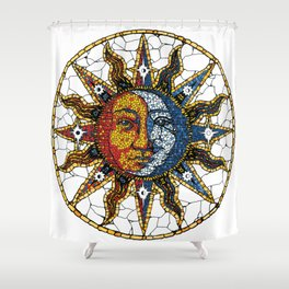 Celestial Mosaic Sun and Moon COASTER Shower Curtain