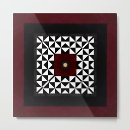 Ruby Red Marble w/ Blk & White Geometrica Pattern Insert Metal Print