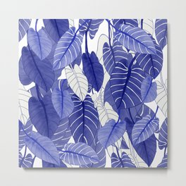 Lovely Leaves in Blue Shades - Spring Summer Mood - Blue and White #society6 #1 Metal Print