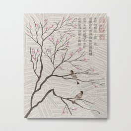 Chinese Painting -Spring Plum Blossom (sheetmusic background) Metal Print