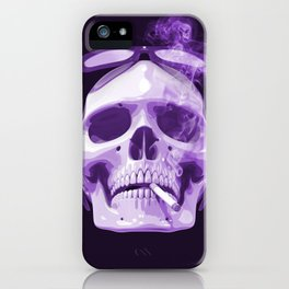 Skull Smoking Cigarette Purple iPhone Case