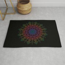 Beautiful Rainbow Colored Mandala on Black Background Rug