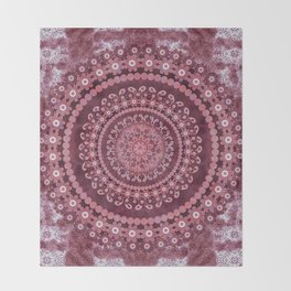 Boho Rosewood Mandala Throw Blanket
