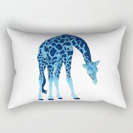 'Feelin' Blue' Pointillism Blue Giraffe Illustration Rectangular Pillow