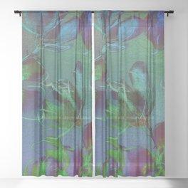 Jewel Toned Flowers Sheer Curtain
