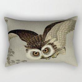 Japanese Owl and Moon Rectangular Pillow
