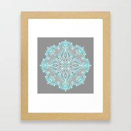Teal and Aqua Lace Mandala on Grey Framed Art Print