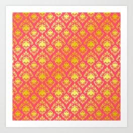 Pink and Gold Damask Art Print