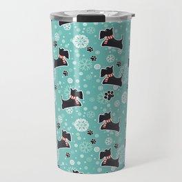 Snowy Scottie Dog Christmas Pattern Travel Mug