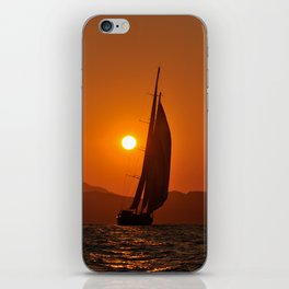 sailboat in sunset iPhone Skin