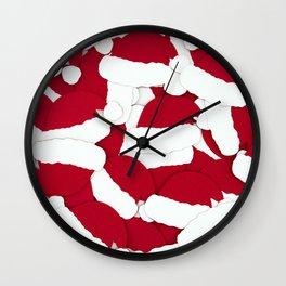 Santa Hats Christmas Pattern (Color) Wall Clock