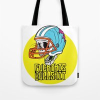 nfl Tote Bags featuring NFL Skull by Bowman Illustration