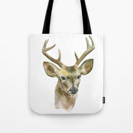 Buck Watercolor Painting Deer Fine Art Tote Bag