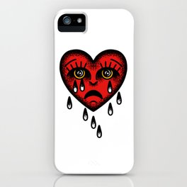 Traditional tattoo sad heart iPhone Case