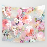 bright Wall Tapestries featuring Love of a Flower by Girly Trend