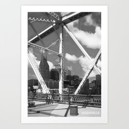 Nashville City Scape Black and White Art Print