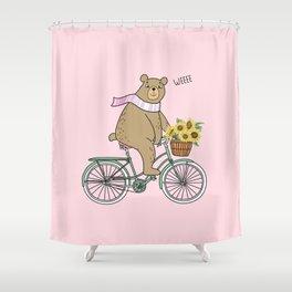 Cycling Bear Shower Curtain