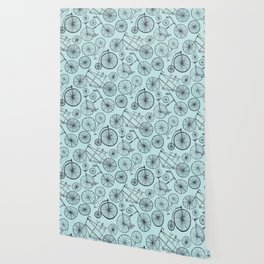 Monochrome Vintage Bicycles On Soft Blue Wallpaper