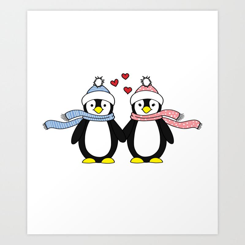 Australian Penguins Art Gift for Valentine/'s Day Penguin Couple in Love mini painting on canvas