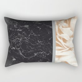 Cafe Au Lait Flower Meets Gray Black Marble #5 #decor #art #society6 Rectangular Pillow