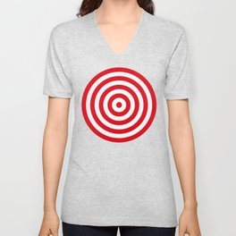 Red target on white background Unisex V-Neck