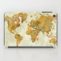 vintage map iPad Cases featuring  World Map Yellow Vintage by City Art Posters