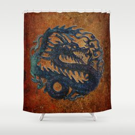 Blue Chinese Dragon on Stone Background Shower Curtain