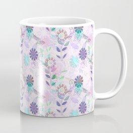 Pretty Purple Dragonfly and Floral Print Coffee Mug