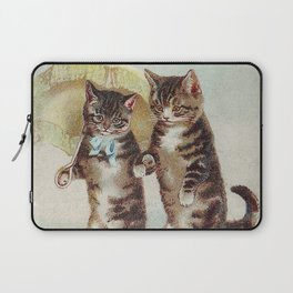 Vintage Cats Walking with Parasol Laptop Sleeve