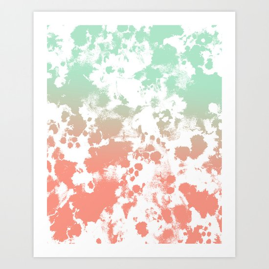 Abstract minimal ombre fade painted trendy modern color palette Art Print