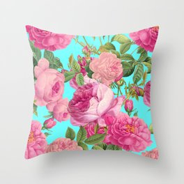 Vintage & Shabby Chic - Summery Rose Flowers Garden Pattern Throw Pillow