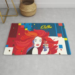 """Beautiful Fashion Woman and Coffee Cup"" POP-ART poster, Retro, Design Rug"