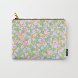 Pink Dogrose Flowers on Sky Blue Carry-All Pouch