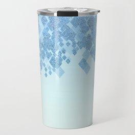 Light Aqua Blue Gradient Faux Glitter Diamonds Travel Mug