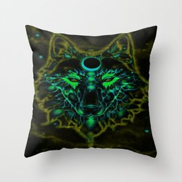 Mythical Neon Yellow Wolf Throw Pillow