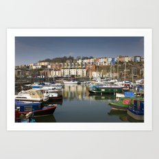 Bristol Boats and Coloured Houses Art Print