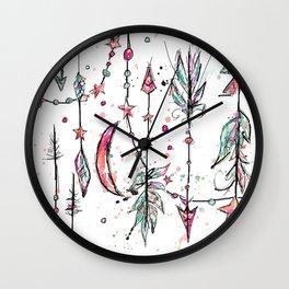 Bohemian Pink and Aqua Wall Clock