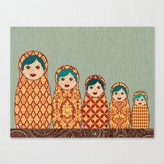 Red and Yellow Matryoshka Nesting Dolls Canvas Print