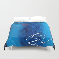 sin city Duvet Covers featuring Blue Sin by RvHART