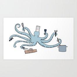 octopus chef Art Print