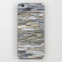 Gray Slate Stone Brick Texture Faux Wall iPhone Skin