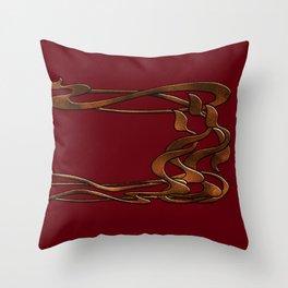 Art  Nouveau  red gold horizontal  Throw Pillow