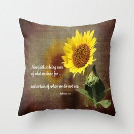 Faithful Sunflower Throw Pillow