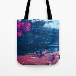 Early Bird [2]: A vibrant minimal abstract piece in blues and pink by Alyssa Hamilton Art Tote Bag