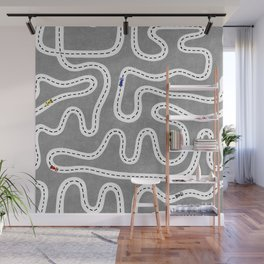 Grey Speed Racers Wall Mural