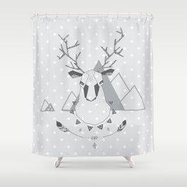 Geo Deer Gray Shower Curtain