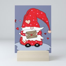 Cute Red Gnome with Love Letter Mini Art Print