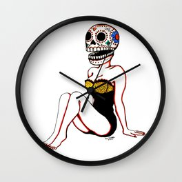 Calavera Pin Up Wall Clock