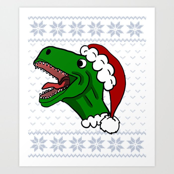 T Rex Christmas.T Rex Christmas Santa Claus Hat Dinosaur Art Print