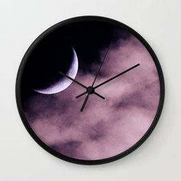 Crescent Moon On A Fluffy Pillow Wall Clock